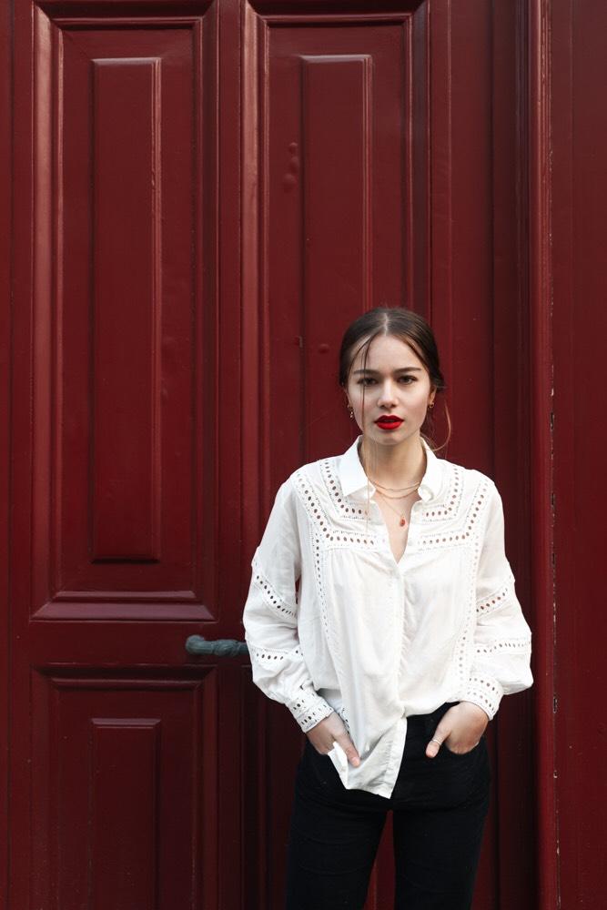 Balistarz-model-Anais-Chang-portrait-shoot-red-door-white-button-shirt