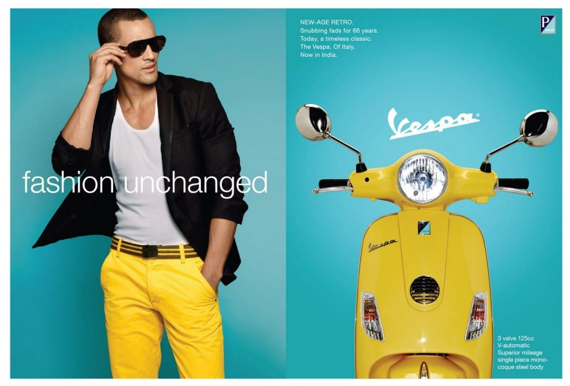 Balistarz-model-Emile-Steenveld-commercial-shot-for-vespa-wearing-yellow-trouser-same-as-the-clolor-of-the-vespa