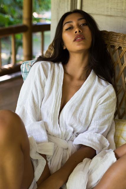Balistarz-model-eva-kandra-casual-shoot-wearing-white-bath-dress-looking-at-camera