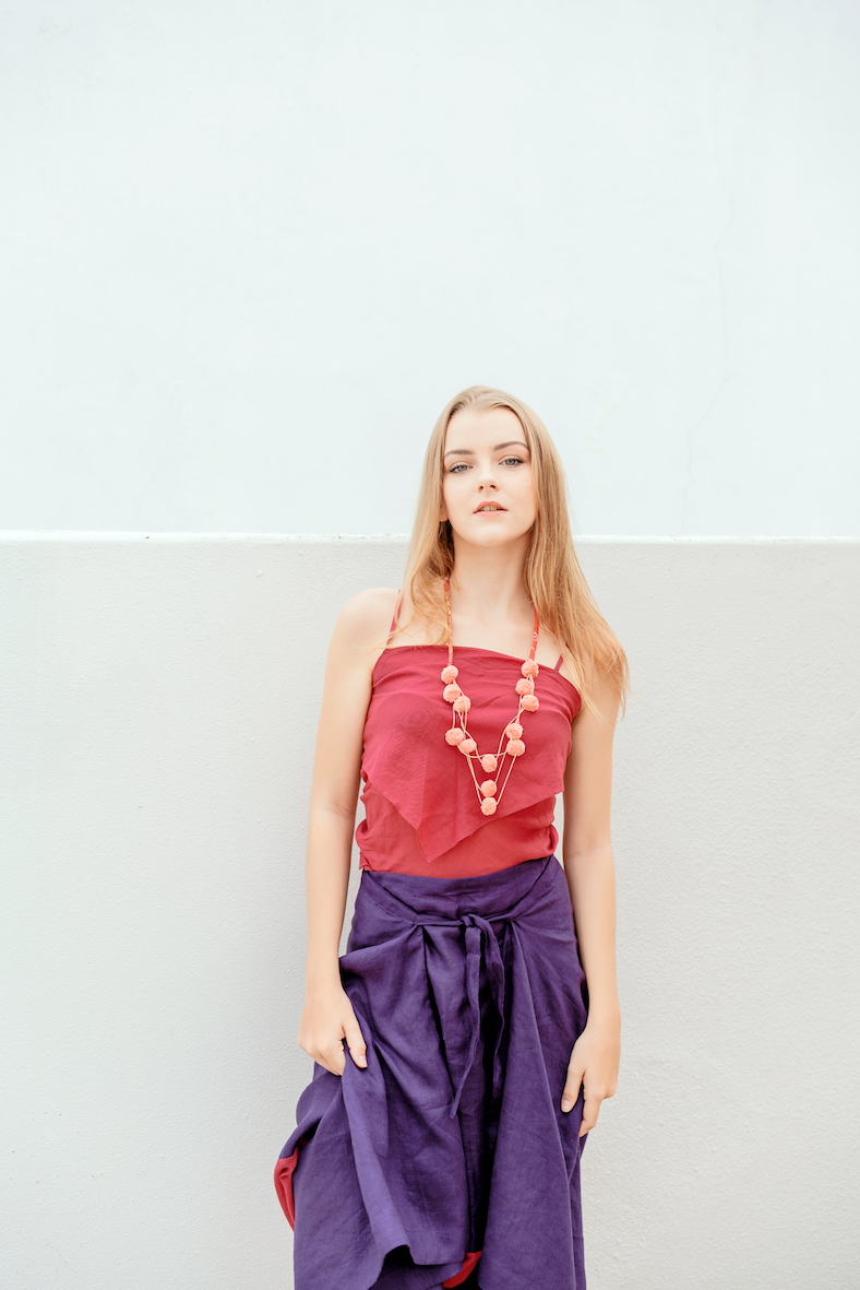 Balistarz-model-India-Rose-portrait-shoot-in-a-sarong-and-a-red-top-with-a-necklace