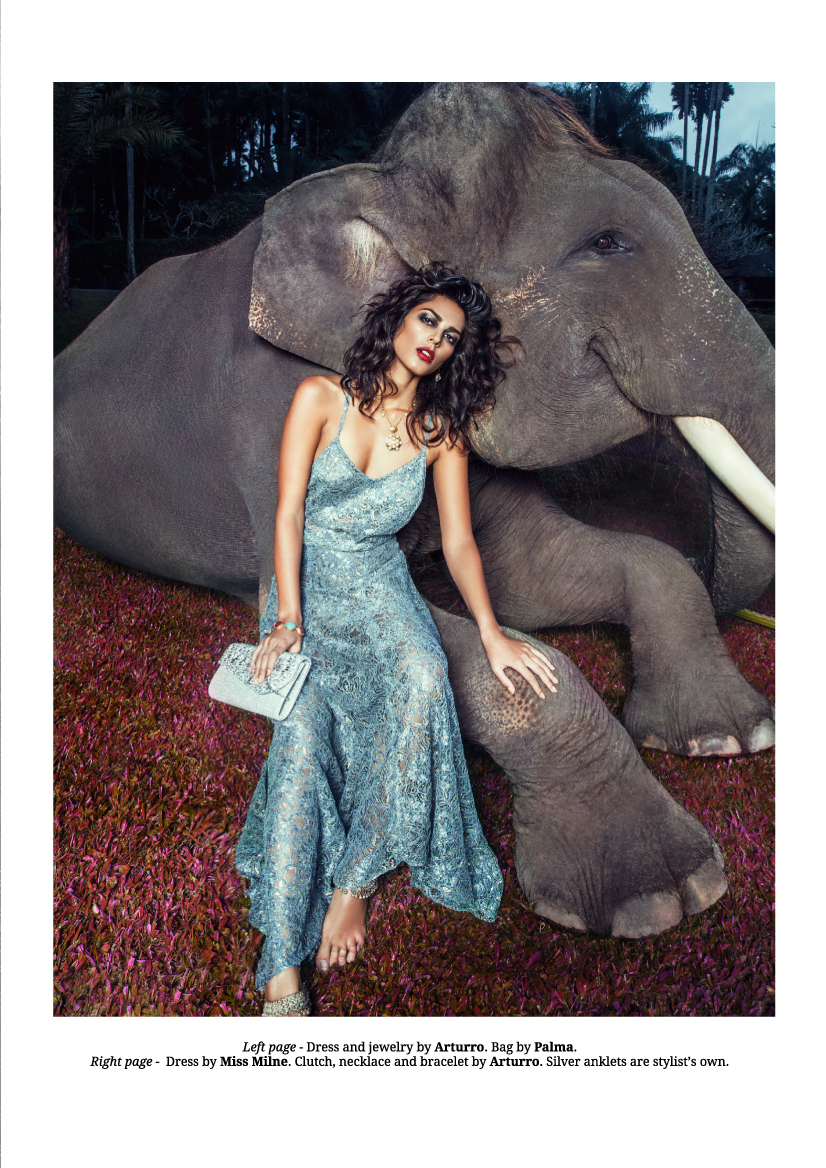 Balistarz-model-Ishtar-fashion-shot-for-HUF-magazine-sitting-with-the-elephant