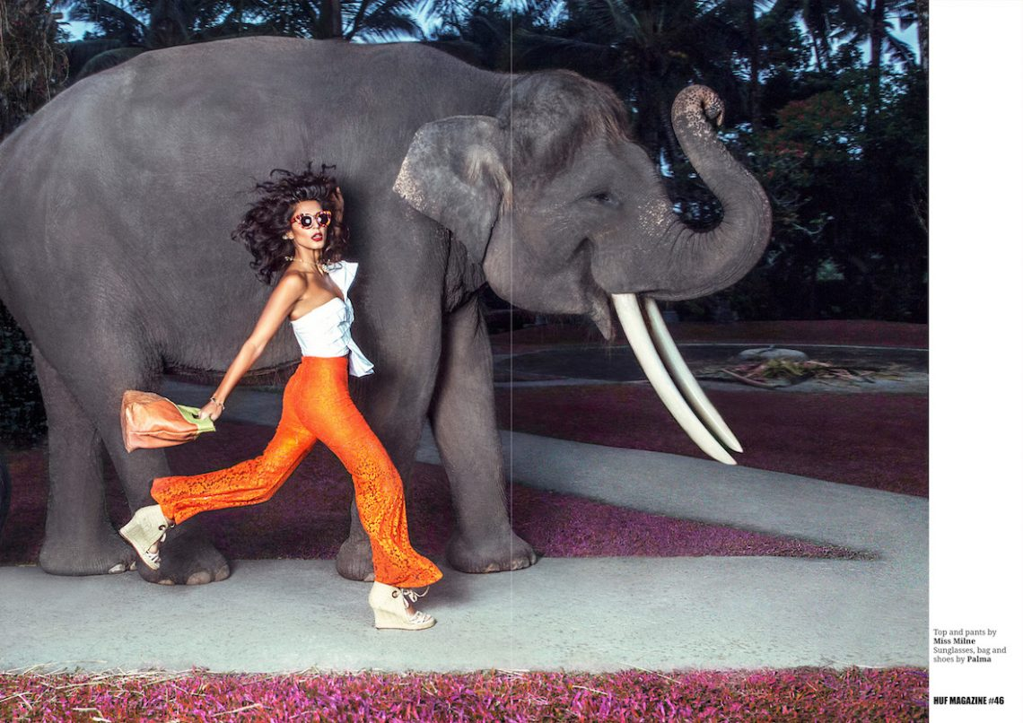 Balistarz-model-Ishtar-fashion-shot-for-HUF-magazine-walking-with-the-elephant