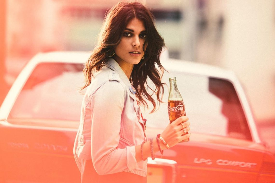 Balistarz-model-Ishtar-casual-portrait-look-holding-coca-cola-bottle-film-burn-style-look