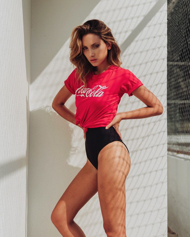 Balistarz-model-Lizette-Croes-representing-Coca-Cola-in-a-beautiful-top-and-swimwear-looking-hot