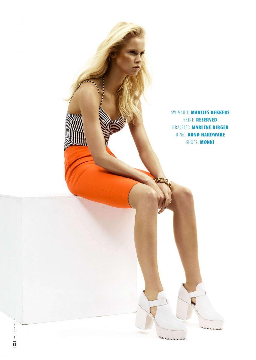 Balistarz-model-Lotte-Keijser-shoot-for-California-Girls-with-orange-skirt-and-black-white-top