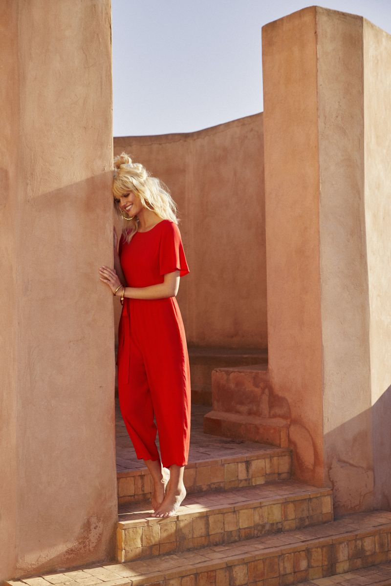 Balistarz-model-Louise-Mikkelsen-casual-fashion-look-standing-there-in-her-red-casual-dress