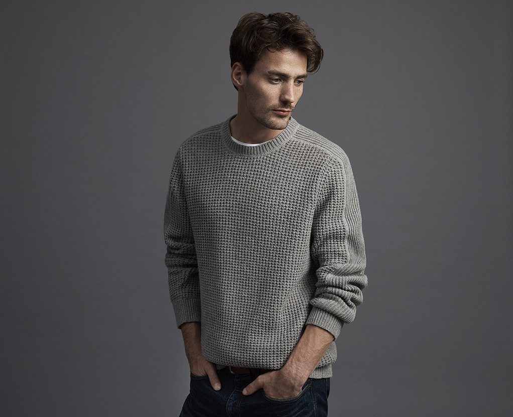Balistarz-model-March-Deane-studio-portrait-profile-shot-portfolio-standing-and-wearing-gray-sweater