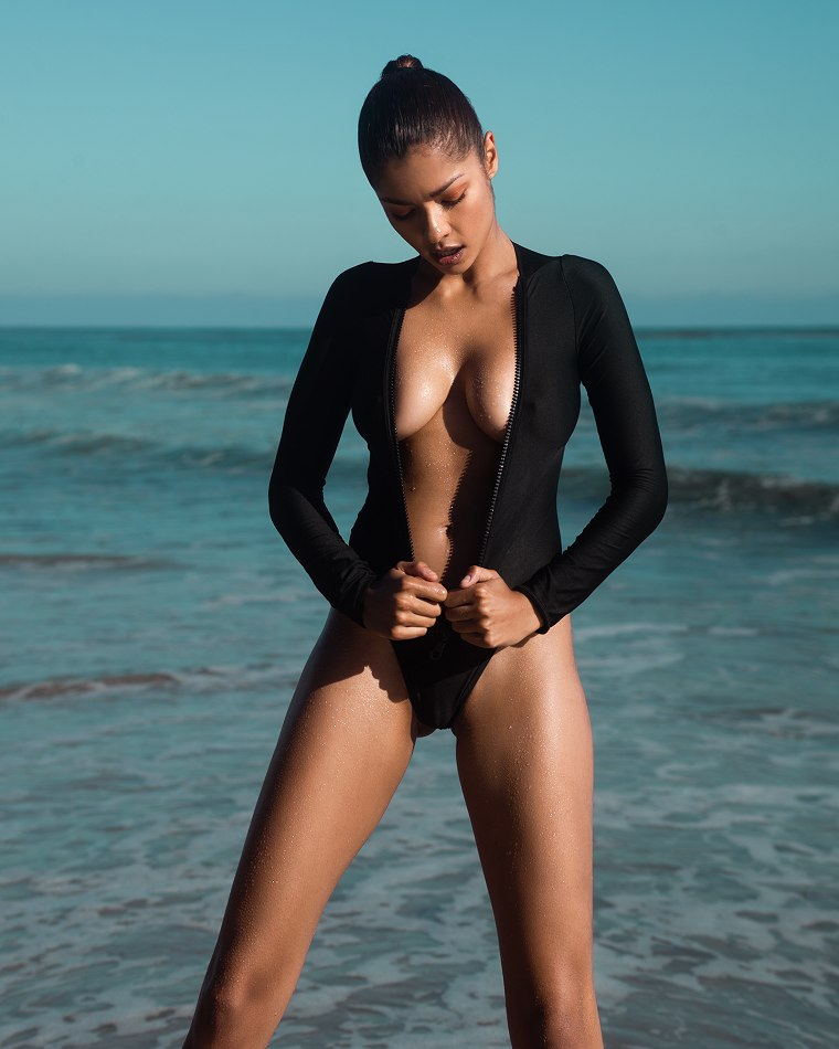 Balistarz-model-Mariana-Fernandes-portrait-beach-shoot-in-a-black-swimsuit