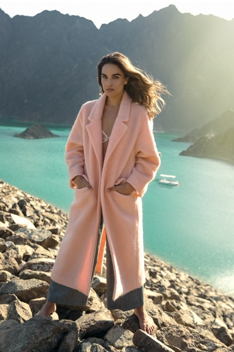 Balistarz-model-Michelle-D'agostino-pink-coat-rocks-scenery-beautiful