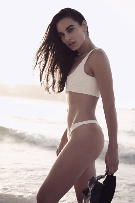 Balistarz-model-Michelle-D'agostino-beach-shoot-white-swimwear-hold