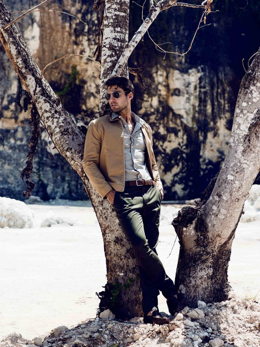 Balistarz-model-Mitchell-Wick-outdoor-fashion-under-the-tree-wearing-semi-formal-suits