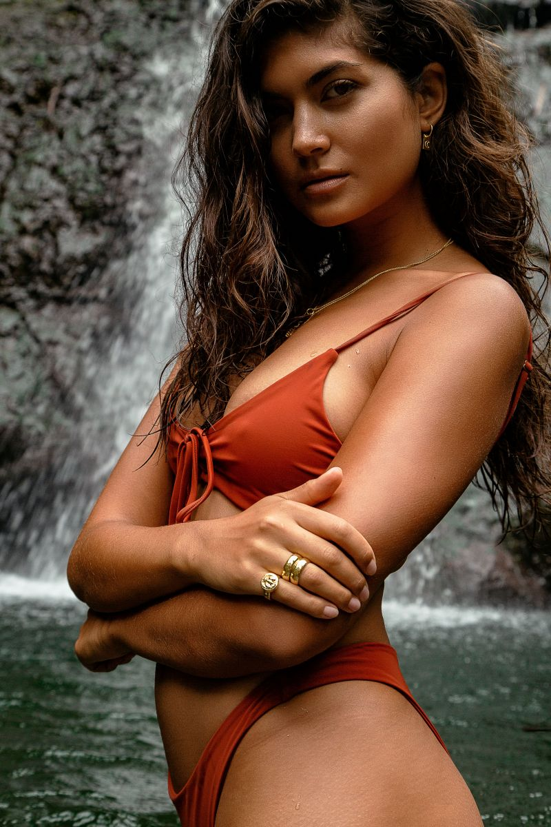 Balistarz-model-Nena-France-enjoying-bikini-day-at-bali-waterfall-red-bikini