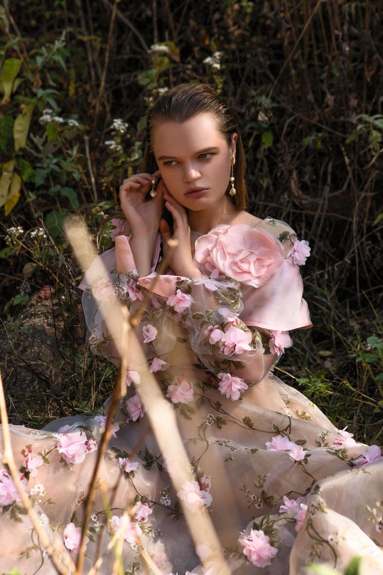 Balistarz-model-Olga-Zinovyeva-portrait-shoot-with-a-flower-dress-and-earrings