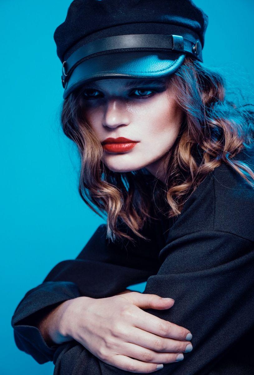 Balistarz-model-Olga-Zinovyeva-portrait-blue-shoot-closeup-with-a-cap
