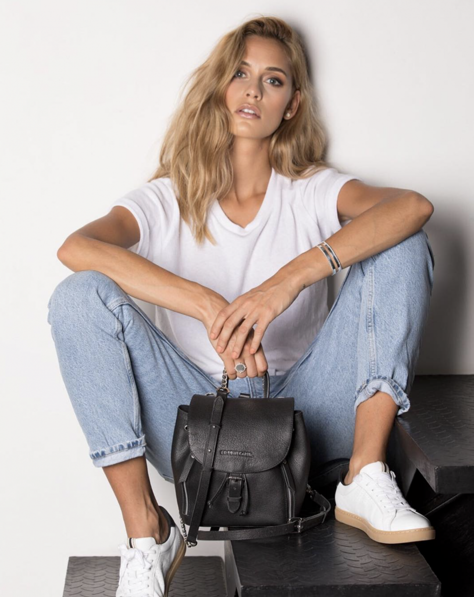Balistarz-model-Paula-Salort-casual-hangout-style-white-t-shirt-and-blue-jeans