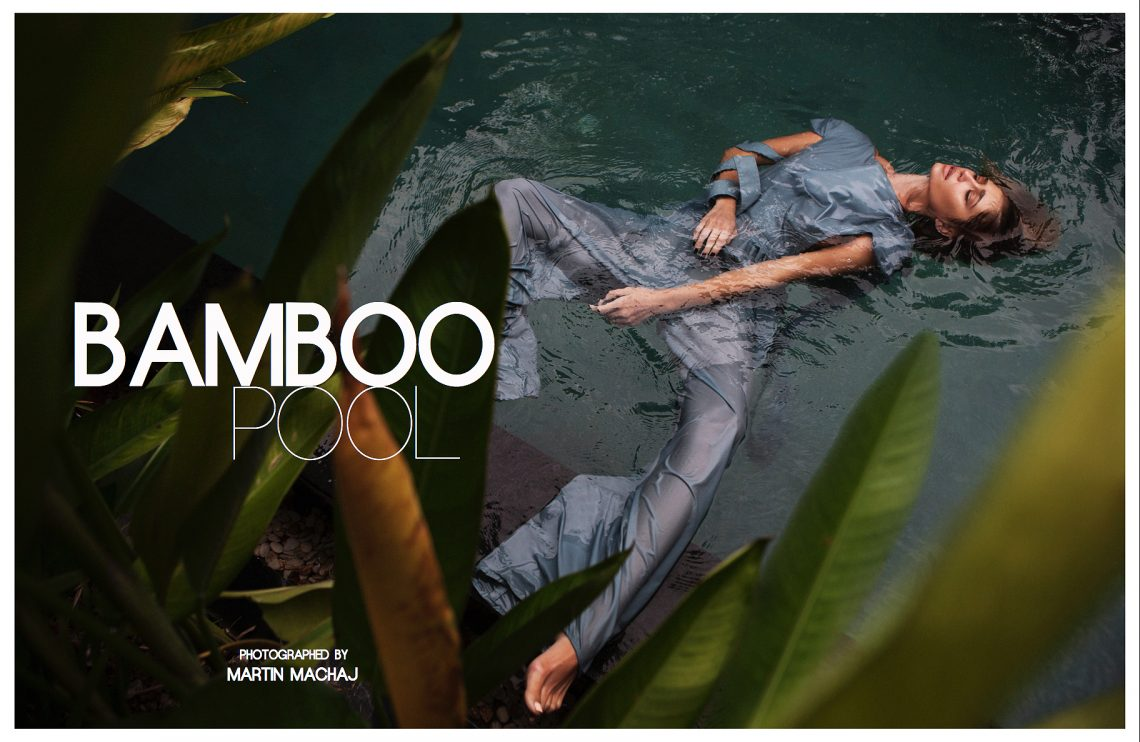Balistarz-model-Raluca-Cojocaru-floating-on-the-water-bamboo-pool-shot