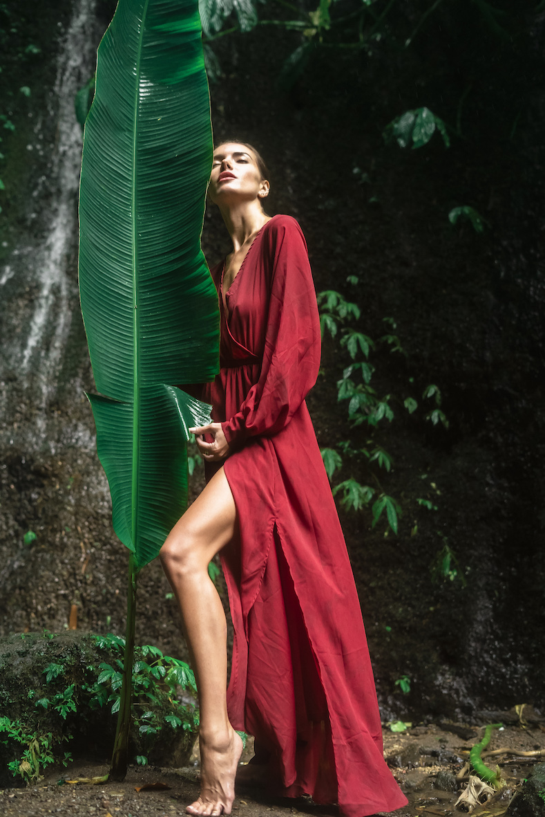 Balistarz-model-Renya-Gorlanova-casual-shot-in-red-dress-with-banana-leaf