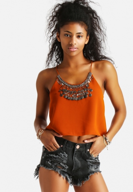 Balistarz-model-Rocky-Brower-young-lifestyle-outfit-wearing-mini-dress-and-orange-top