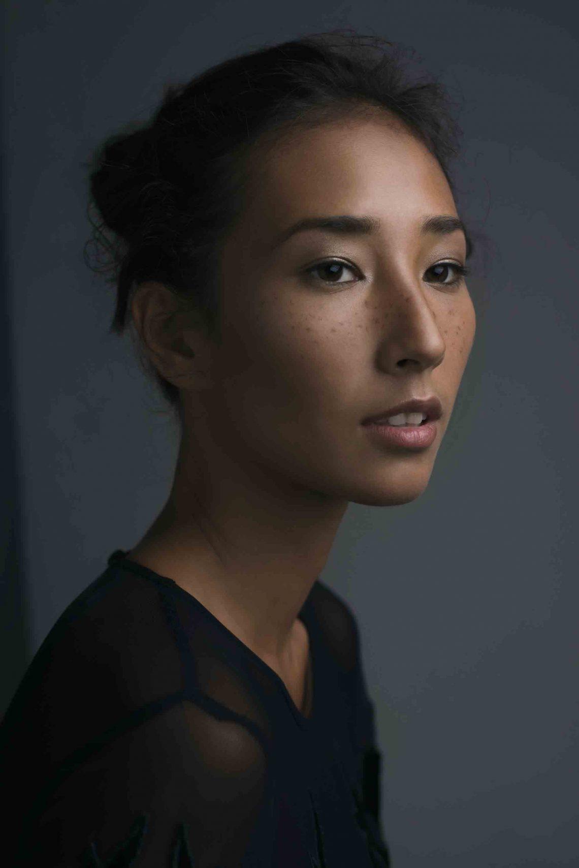 Balistarz-model-Sharon-Coplon-side-headshot-portrait-shoot-in-black-top