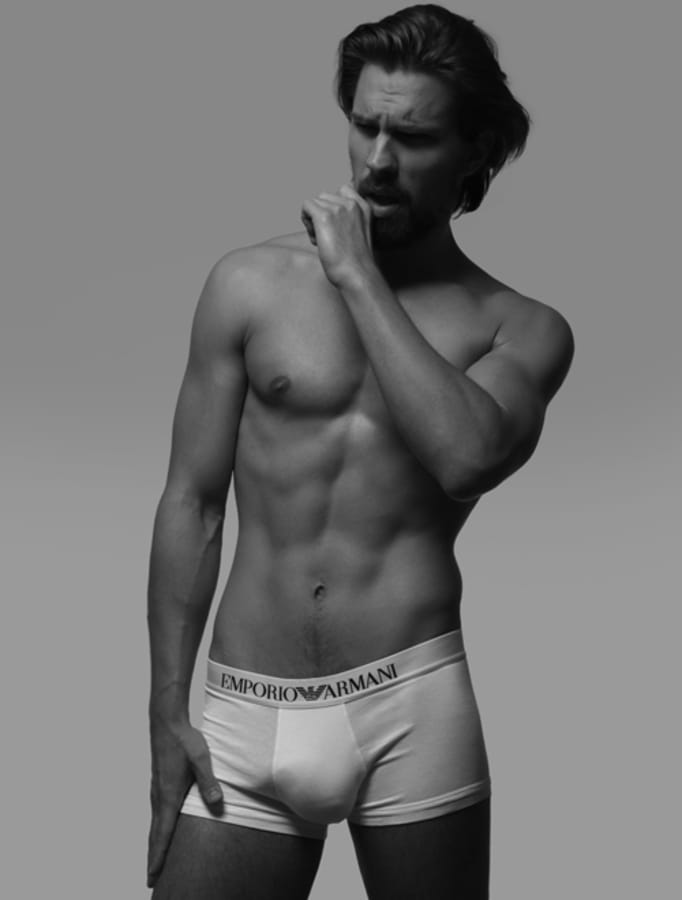 Balistarz-model-Tobi-Klanner-black-and-white-studio-portrait-topless-wearing-emporio-armani-under-wear