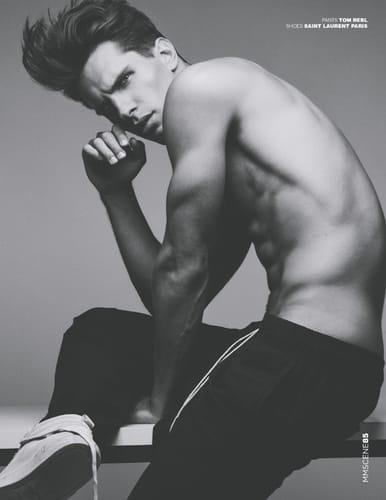 Balistarz-model-Tobi-Klanner-sport-style-fashion-spread-of-magazine-black-and-white-image