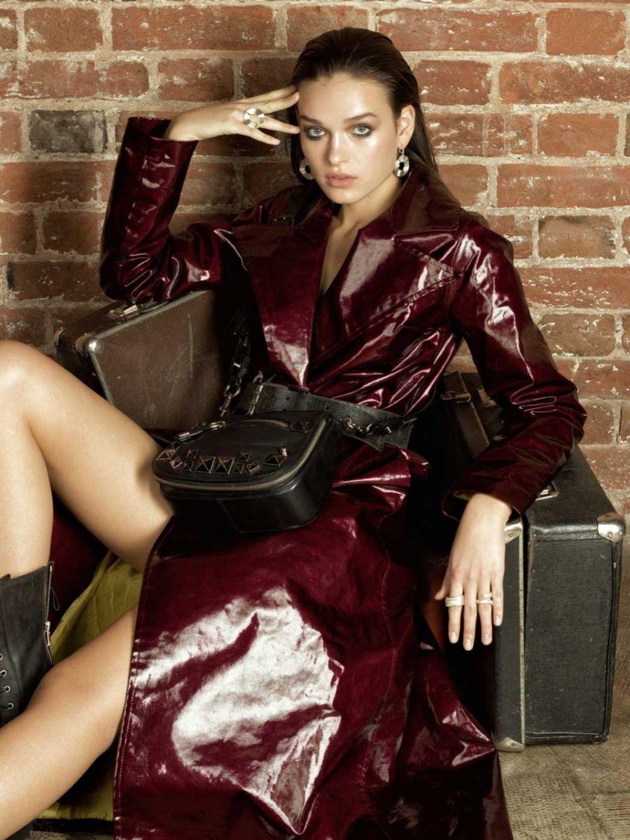 Balistarz-model-Valeria-Rudenko-portrait-shoot-with-a-red-coat-sitting-on-a-chair