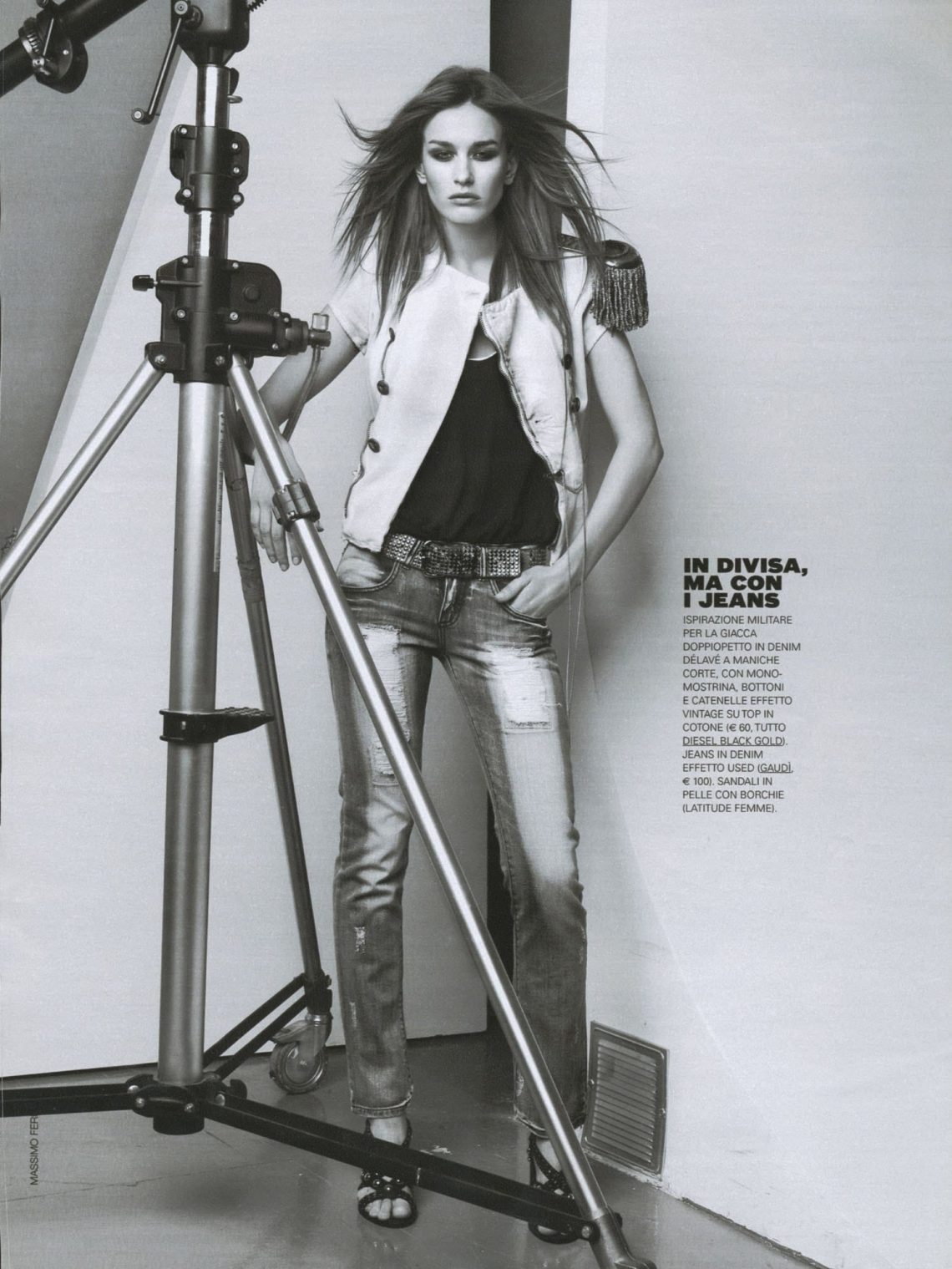 Balistarz-model-Zane-Garlaskelli-fashion-spread-on-grazia-magazine-jeans-style-black-and-white-image